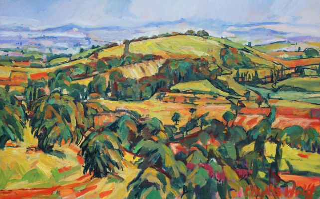 Dogbury Hill from Lyons Gate 60x100