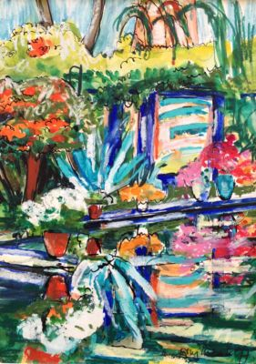 Pond at La Marjorelle Marakesh 28 x 20
