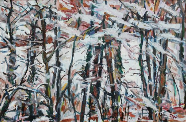 Trees in the Snow oak antique frame 60x90cm